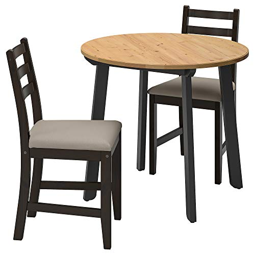 LERHAMN/GAMLARED mesa y 2 sillas Ø85 cm claro mancha antigua negro-marrón/beige Vittaryd