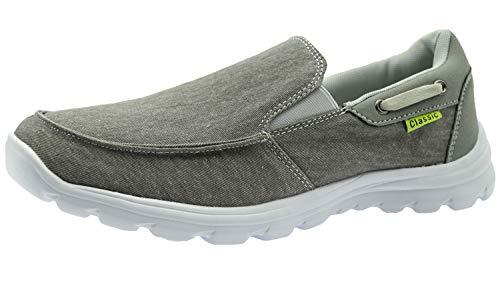 ChayChax Scarpe da Barca Uomo Comode Scarpe da Ginnastica Basse Slip On Loafer Mocassini Leggera Canvas Sneaker,Grigio,46 EU