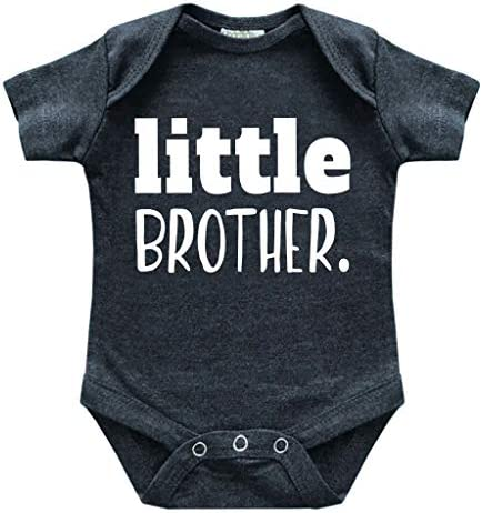 little brother newborn outfit baby brother boy bodysuit coming home outfits boys Charcoal Black product image