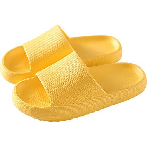 QAZW Sandali da Donna, Pantofole Larghe Suola con Tappetino da Yoga Comfort per Supporto dell'Arco Interno della Casa,Yellow-40/41