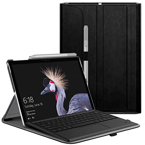 MoKo Case Fit Microsoft Surface Pro 7 Plus/Pro 7/Pro 6, Ultra Lightweight Portfolio Business Cover with Pen Holder for Surface Pro 7/6/5/4/Pro LTE, Compatible with Type Cover Keyboard, Black