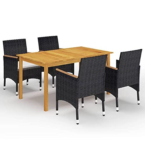 vidaXL Gartenmöbel Set 5-TLG. Sitzgarnitur Sitzgruppe Gartengarnitur Tisch Esstisch Stühle Gartenstuhl Gartentisch Sessel Gartenset Schwarz