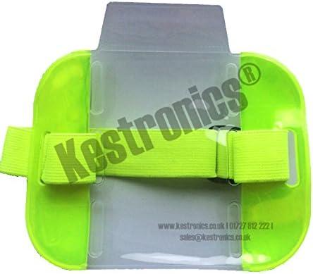 Brassard porte-badge jaune fluo