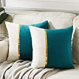 Fancy Homi 2 Packs Decorative Throw Pillow Covers 20x20 Inch for Living Room Couch Bed, Teal Green and White Velvet Patchwork with Gold Leather, Luxury Modern Home Decor, Accent Cushion Case 50x50 cm