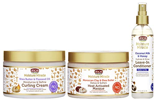 African Pride Moisture Miracle SET - Leave-in Conditioner, Curling Cream, Heat Activated Masque