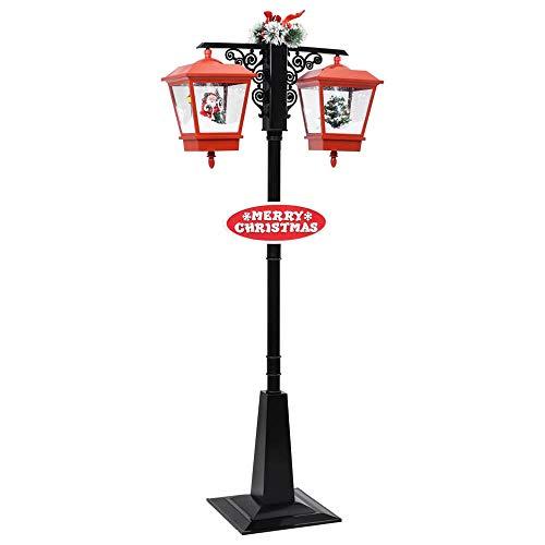 LED Straßenlampe Weihnachten Stehleuchte Lampe mit Schneefallfunktion Weihnachtslaterne Weihnachtsdeko Klassische Wegeleuchte für Garten, Hof, Straßenlaterne Straßenleuchte Hofleuchte Außen Licht