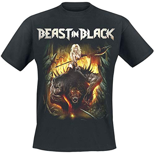 Beast In Black from Hell with Love Hombre Camiseta Negro M, 100% algodón, Regular