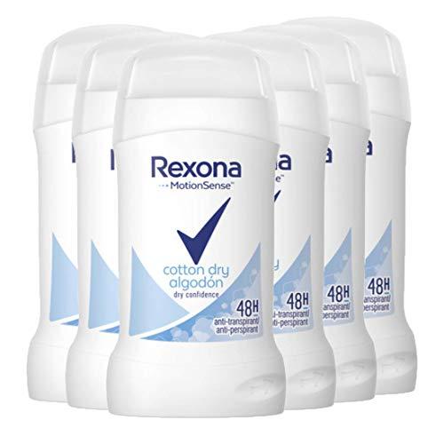 Rexona - Cotton dry algodón, desodorante en barra para mujer, pack de 6 (6 x 40 ml)