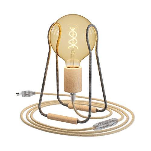 Taché Madera, lámpara de sobremesa Completa con Cable Textil, Interruptor y Clavija de 2 Polos - Sin Bombilla, Zig Zag Gris Oscuro con Cable Yute
