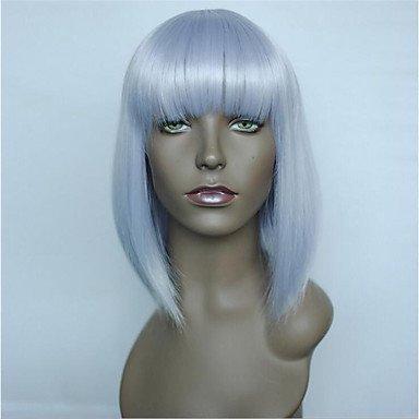 Js-wigs Perruque synthétique droite Bob Coupe/couches de coupe/court Bob Cheveux synthétiques Naturel Hairline Violet Perruque courte sans capuchon