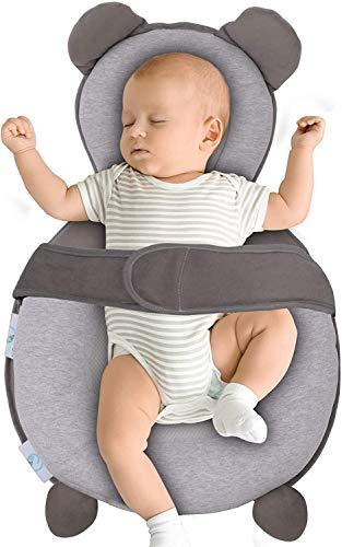 POEO Nido de Bebé 100% Algodón Reposacabezas Doble Premium, Cama de Viaje Portátil para Dormir, Tamaño Ajustable, Fácil de Limpiar para 0-18 Meses