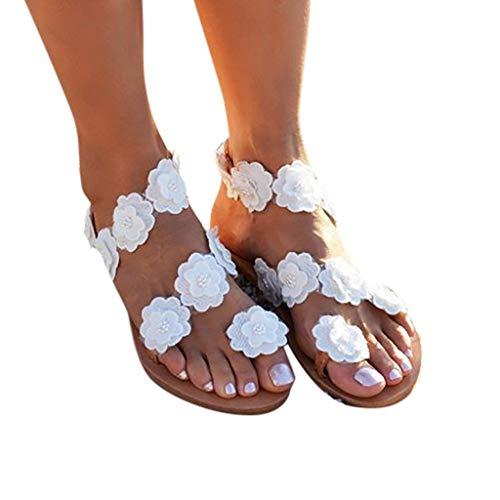 Lilicat-Damen Sandalen Zehentrenner Blumen Frauen Runde Clip Toe T-Strap Blume Low Flache Heel Sandalen Sommer Strand Post Flip Flops Flache Schuhe Strand Kleid-Partei Hochzeit
