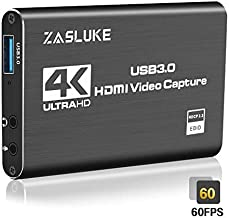 ZasLuke 4K HDMI Game Capture Card, USB 3.0 HDMI Video CaptureDevice with HDMI Loop-Out 1080P 60FPS Live Streaming Game Recorder Device for PS4, Nintendo Switch, Xbox One&Xbox 360 and More (Black)