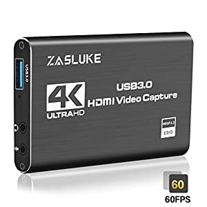 ZasLuke キャプチャーボード 4K HDMIビデオキャプチャカード、 ゲームキャプチャデバイス USB3.0 1080p 60fps HDMIループアウト、 Windows/Linux/Mac OS X、PS4/Xbox One/Nintendo Switch/Wii U対応 ゲーム配信 テレワーク Web会議