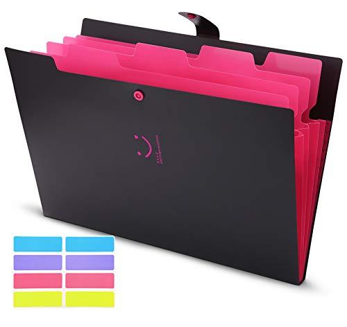 Skydue Letter A4 Paper Expanding File Folder Pockets Accordion Document Organizer (Black)