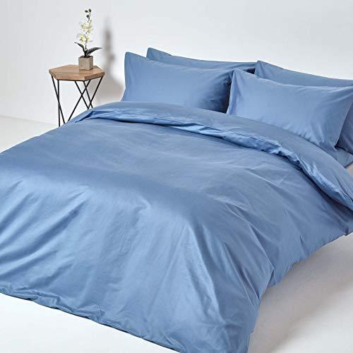 HOMESCAPES Housse de Couette Taies d'Oreiller Unies en Coton égyptien 1000 Fils Bleu 230 x 220 cm