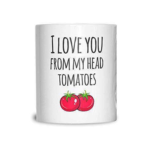 Valentines Pun Tasse en céramique Love You My Head De Tomates White 11OZ