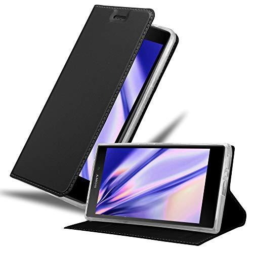 Cadorabo Hülle für Sony Xperia L2 in Classy SCHWARZ - Handyhülle mit Magnetverschluss, Standfunktion & Kartenfach - Hülle Cover Schutzhülle Etui Tasche Book Klapp Style