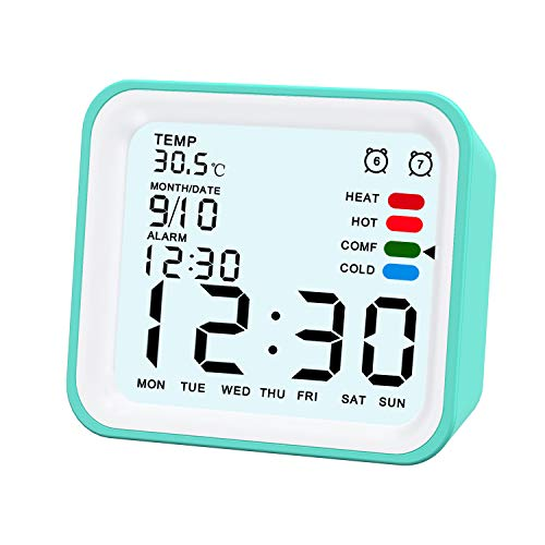 Reloj Despertador Digital, 4 Pulgadas Silencioso Simple Portátil Despertador luz LCD doble Alarma Función de Repetición Funciona con Pilas para Cocina Dormitorio Escritorio Reloj de Mesa (Verde)