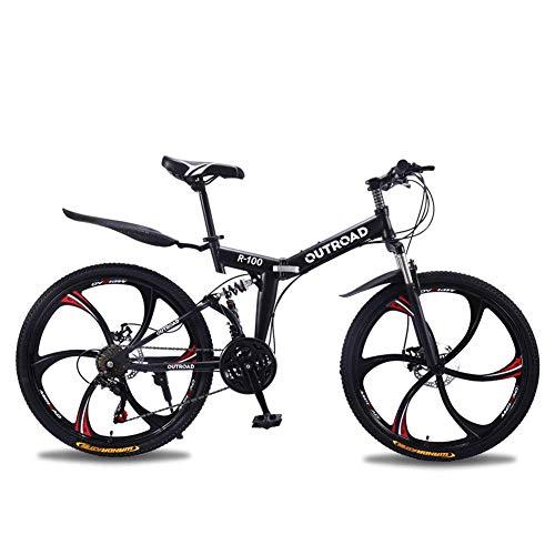 Outroad Mountain Bike 6 Spoke 21 Speed Double Disc Brake Folding Bike (Black,26in)