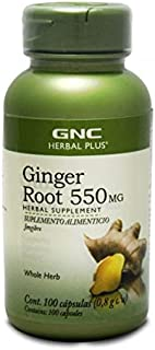GNC Herbal Plus Ginger Root 550mg, 100 Capsules, Supports Digestive Health