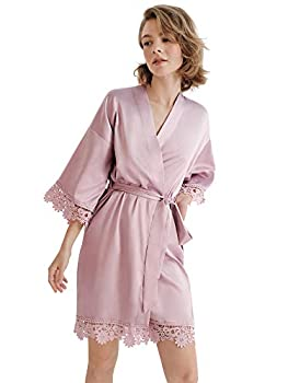SIORO Women s Satin Robe Lace Silk Kimono Robes Petite Short for Bridesmaid Wedding Party Nightgown Dusty Rose Small