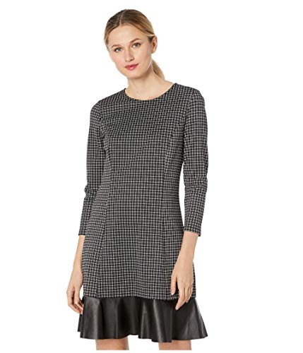 Michael Michael Kors Women's Plaid Mixed Check Ruffle Hem Dress, Black/White (X-Small)