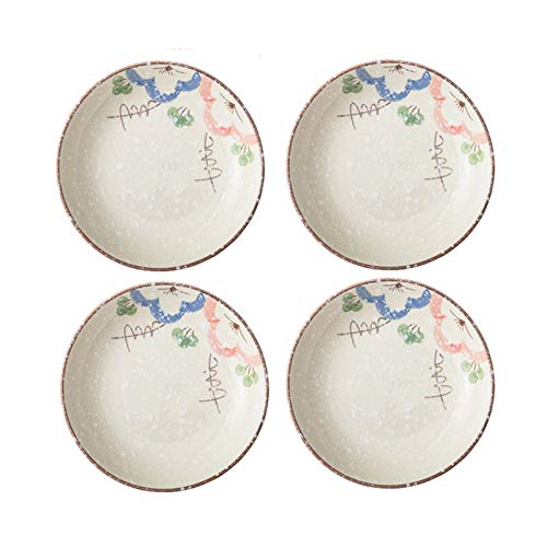 platos llanos Placa de cena de cerámica de cerámica redonda, postre acristalado, ensalada, placa de pasta, placa de aperitivo de 8 pulgadas, conjunto de 4 piezas. Vajilla Porcelana ( Color : A )