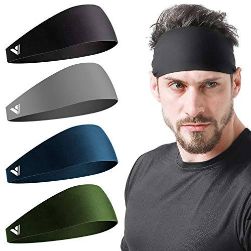Vgogfly Running Headbands for Men Sweatbands Sports Sweat Bands Mens Workout Thin Fitness Gym Yoga 4 Pack