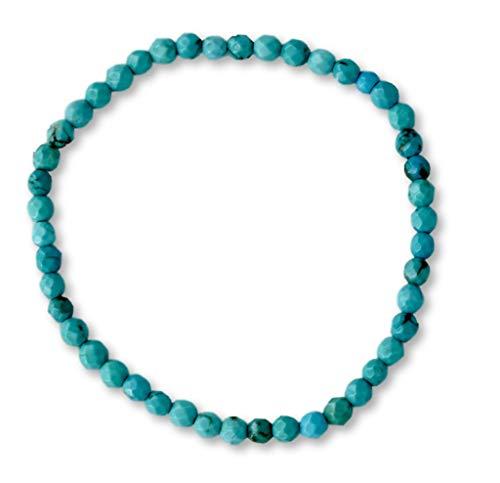 Taddart Minerals - turquoise gekleurde armband van natuurlijke edelsteen magnesiet met facet geslepen 4 mm kogels op elastische nylondraad - handgemaakt