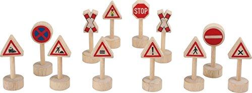 B-Creative Juego de 12 mini juguetes para carreteras con diseño de leyendas en caja pintada de madera