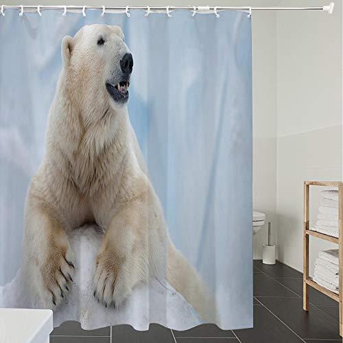 Derun Duschvorhänge, Textil Bad Vorhang aus Polyester, Anti-Schimmel, Zoo, Porträt des großen weißen Eisbären auf Eiskrallen Antarktis Nord Im Freien D,Blickdicht, Wasserdicht, Waschbar, 120X180CM