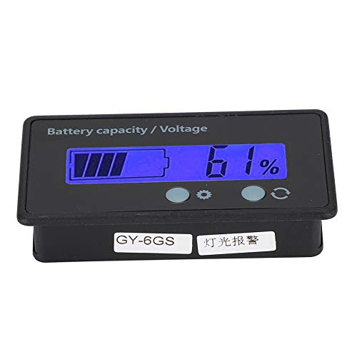 New Nunafey Battery Capacity Indicator, 12-84V LCD Display Voltmeter, with Light Alarm Function, Dou...