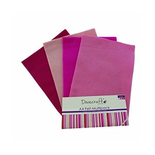 Dovecraft - 8 fogli in feltro colorato e schiuma, formato A4 Felt Pinks (8pk)