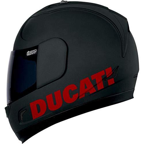 SUPERSTICKI 2X Ducati Helmaufkleber Motorrad Aufkleber Bike Auto Racing Tuning aus Hochleistungsfolie Aufkleber Autoaufkleber Tuningaufkleber Hochleistungsfolie für alle glatten Flächen UV