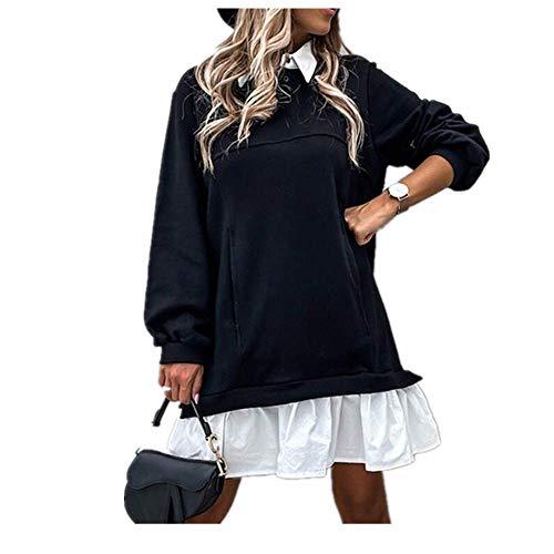 Frauen Elegant Casual Umlegekragen Kleid Patchwork Rüschen Minikleider Lady Vintage Knopf Lose Kleid - Schwarz - 3X