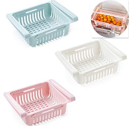 Kühlschrank Sortieren Aufbewahrungsbox Korb, ausziehbare versenkbare Regale, Ausziehbare Fähigkeiten Schublade Organizer Rollen Aufbewahrungsbox (White)