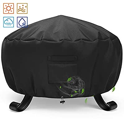 SHINESTAR 44 inch Round Fire Pit Cover, Fit for 40-43 inch Metal Fire Pit, Waterproof and Fade Resistant, All-Season Protection - 44 Dia x 24 H