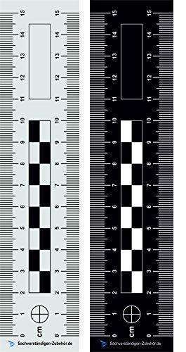 Sachverständigen-Zubehör Tatortlineal - doppelseitig bedruckt aus Kunststoff | 15 cm | Dokumentationshilfe | Fotoreferenzmaßstab | Gutachter | KFZ Auto | Sachverständiger Wertermittlung (15 cm)