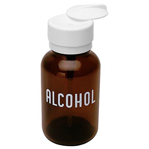 MENDA 35608 Glass/Polypropylene/Steel/Low-Density Polyethylene/Ldpe Dispensing Bottle, Lasting-Touch, Imprinted 'Alcohol', Amber Round Glass 8 oz., 8 fl. oz. Capacity,Brown