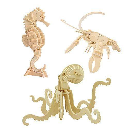 Georgie Porgy Modelos de Animales de Madera en 3D, Kit de Construcción de Artesanía en Madera de Rompecabezas ños de Edad para Niños de 5+ (3 Piezas, Caballito de Mar Langosta Pulpo)