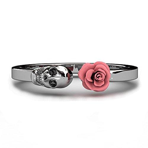 Evbea, anelli con teschio e rose, stile gotico vintage, per ragazza, 19, cod. EDR346
