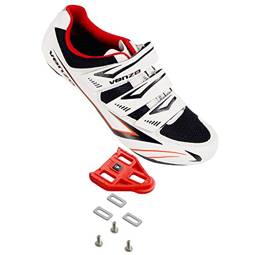 Venzo Bicycle Men's or Women's Road Cycling Riding Shoes - 3 Straps- Compatible with Peloton Shimano SPD & Look ARC Delta - Perfect for Road Racing Bikes White Color 48