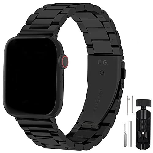 Fullmosa Für Apple Watch Armband 44mm/42mm 6 Se und 40mm/38mm, Edelstahl Ersatzband für iWatch Series SE/6/5/4/3/2/1 44mm/42mm Schwarz