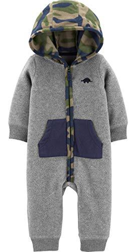 Carter's Baby Boys' Camo Contrast Hooded Pram Suit - Dark Gray, 9 Months