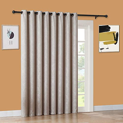 """WARM HOME DESIGNS 1 Extra-Large, Extra-Long 102"""" X 96"""" Panel of Textured Ivory Patio Door Curtains. Insulated Blackout Sliding Door or Room Divider Drape with Embossed Pattern. EV Ivory Patio 96"""