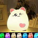 Luce Notturna a LED, CNSUNWAY Portatile per Bambini Lampada, 7 Colori Ricaricabile USB LED...