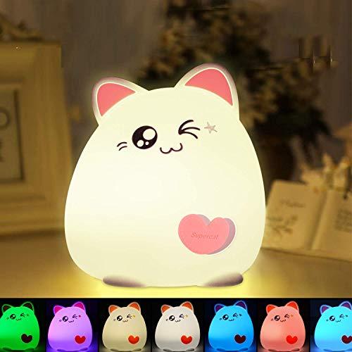 CNSUNWAY Luz de noche LED para niños, Portátil 7 Colores Lámpara LED de Silicona para Gatos Pequeños Recargable por USB, Linda Luz que Cambia de Color para Bebés, Niños Regalo de Cumpleaños