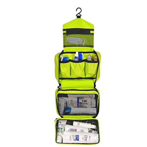 Japace® Beauty Case Sacchetto Cosmetic Borsa da Viaggio Organizzatore di Viaggio con Gancio, Grande Capacità, Portable per Attività Esterna in Viaggio D'affari 24.5 * 8 * 16cm---Verde