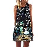 レディース ミニワンピースドレス Hodarey 袖無しボヘミア風 カジュアル スカート 花柄 ドレス ワンピース 超綺麗レディース チュニックワンピース可愛い女性 ゆったり ミニ ドレスきれい 日常着 に適切 リゾート デートビーチミニドレス C